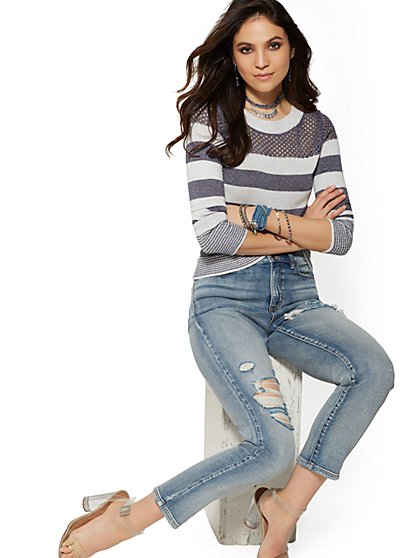 Super High-Waisted Straight Leg Jeans - Salt Water Blue - New York & Company