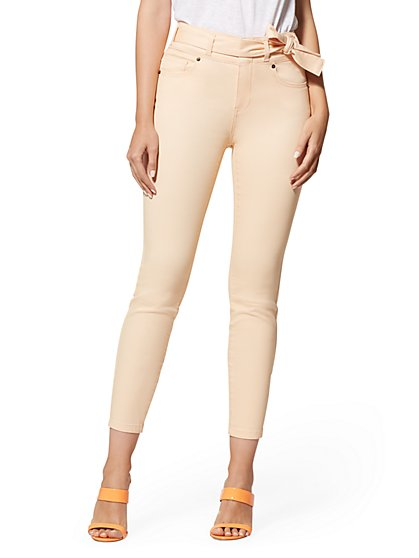 Super High-Waisted Super-Skinny Ankle Jeans - Peach - New York & Company