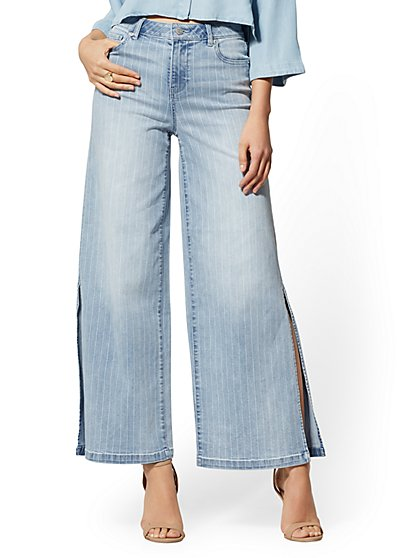 Super High-Waisted Wide-Leg Jeans - Atlantis Blue - New York & Company