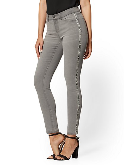 Super-Skinny Ankle Jeans - Snake-Print Trim - New York & Company