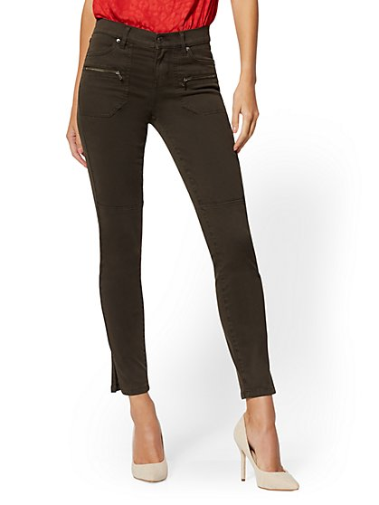 Super-Skinny Cargo Jeans - Olive - New York & Company