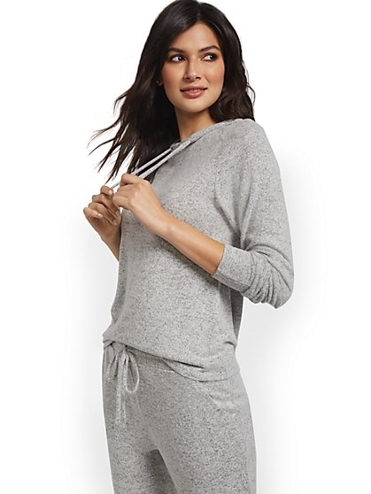 Super-Soft Knit Raglan Hooded Sweatshirt - New York & Company