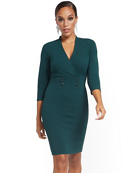Surplice Button-Waist Sheath Dress - Magic Crepe® - New York & Company