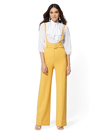 Suspender Palazzo Pant - Yellow - 7th Avenue - New York & Company