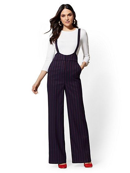 Suspender Pant - Navy Stripe - 7th Avenue - New York & Company
