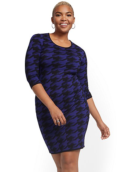 Sweater Sheath Dress - Houndstooth - New York & Company