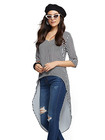 Sweet Pea - Stripe Hi-Lo Blouse - New York & Company