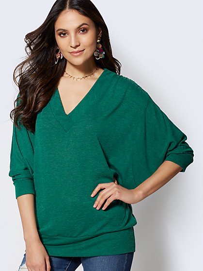 Sweet Pea - V-Neck Hacci-Knit Tunic Top - New York & Company