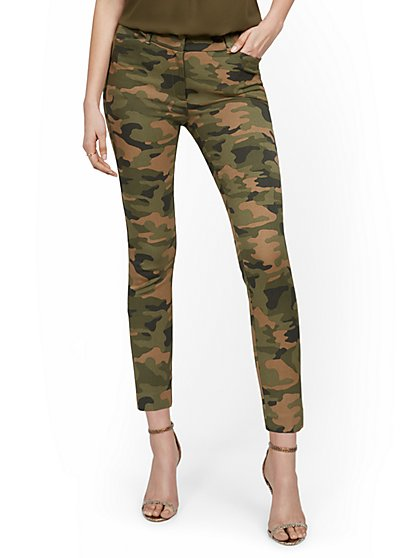 Tall Audrey High-Waisted Ankle Pant - Camo-Print - New York & Company