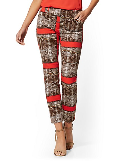 Tall Audrey Slim Leg Ankle Pant - Snake & Link Print - New York & Company