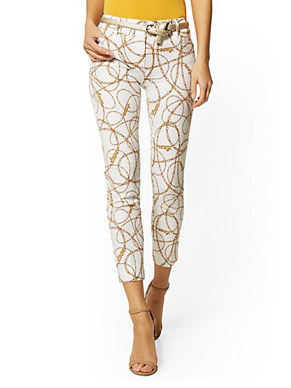 Tall Audrey Slim Leg Ankle Pant - White Link Print - New York & Company