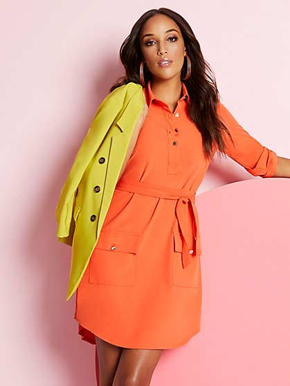 Tall Belted Safari Shirtdress - New York & Company