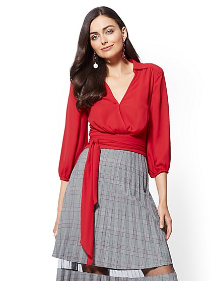 Tall Belted Wrap Blouse - New York & Company
