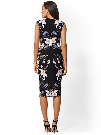 10d7c5794ed ... Tall Black Floral V-Neck Sheath Dress - New York   Company ...