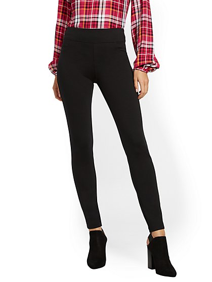 Tall Black High-Waisted Pull-On Legging - Ponte - New York & Company
