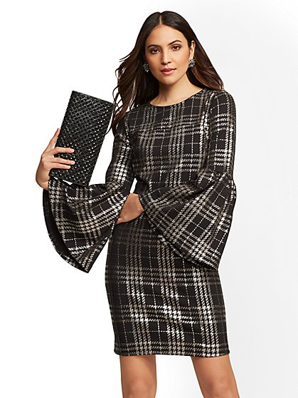 Tall Black Metallic Plaid Sheath Dress - New York & Company