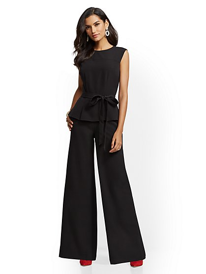 Tall Black Peplum Jumpsuit - New York & Company