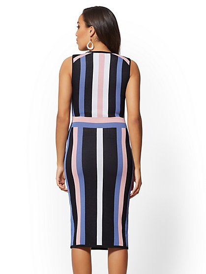 ... Tall Black Stripe Sheath Sweater Dress - New York   Company c5b8e5f46