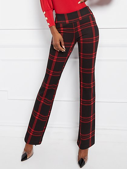 Tall Bootcut Pull-On Pant - Signature Fit - Plaid - 7th Avenue - New York & Company