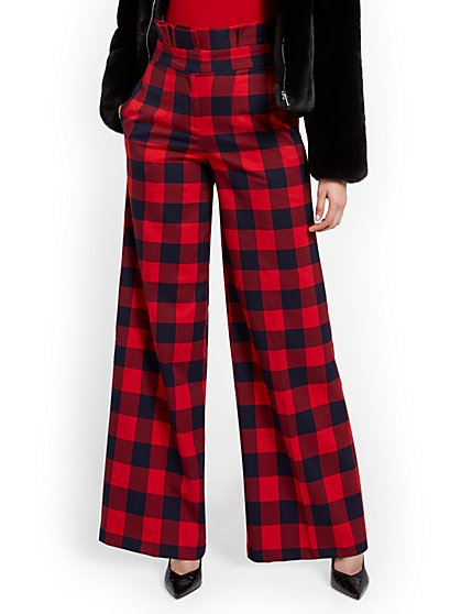 Tall Buffalo Check Paperbag-Waist Pant - New York & Company