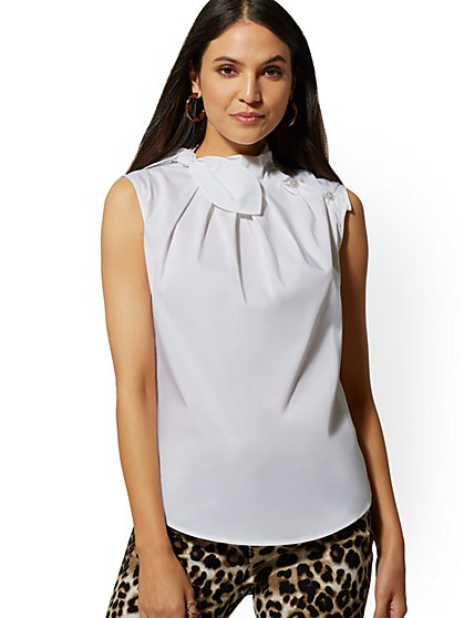 Tall Button-Accent Bow-Detail Sleeveless Shirt - 7th Avenue - New York & Company