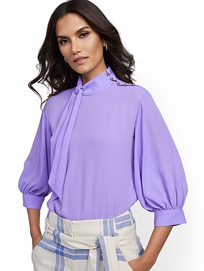Tall Button-Accent Tie-Front Blouse - 7th Avenue - New York & Company