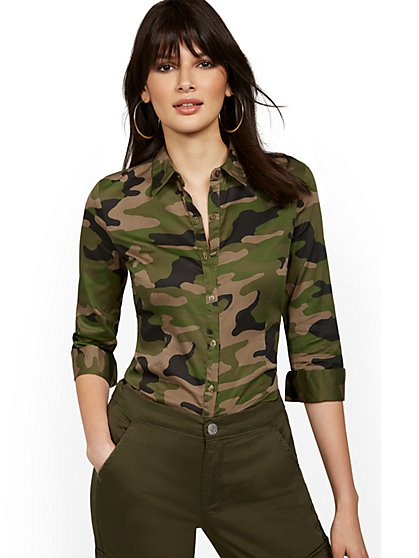 Tall Camo-Print Madison Stretch Shirt - Secret Snap - 7th Avenue - New York & Company
