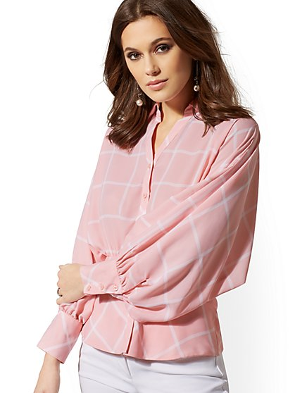 Tall Checked Dolman Peplum Blouse - 7th Avenue - New York & Company