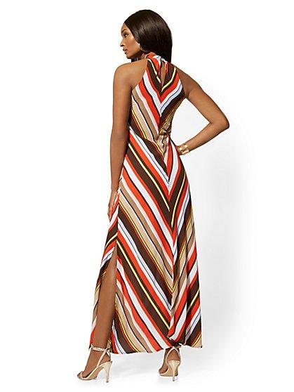 43b8236cd39e ... Tall Chevron-Stripe Halter Maxi Dress - New York & Company ...