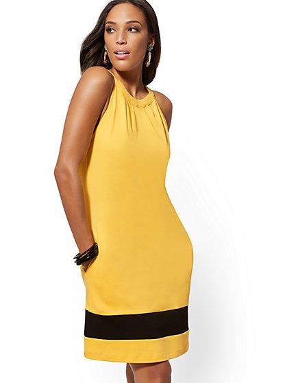 d2d5bcbf80d Tall Cotton Colorblock Halter Shift Dress - New York   Company ...