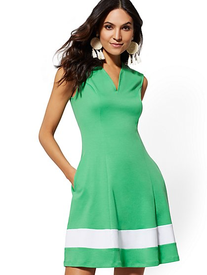 Tall Cotton Colorblock V-Neck Dress - New York & Company
