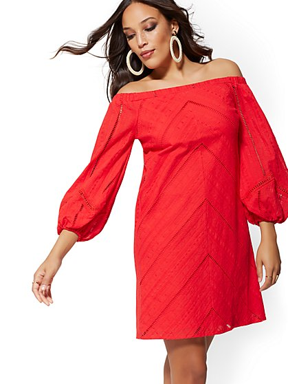 Tall Crochet-Trim Off-The-Shoulder Shift Dress - New York & Company