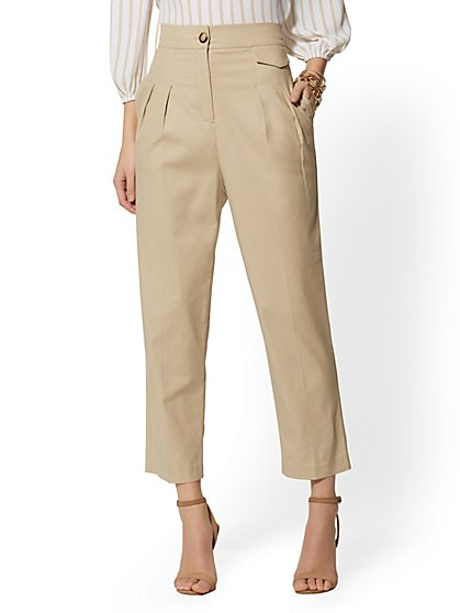Tall Crop Wide Leg Pant - Signature Fit - Beige - 7th Avenue - New York & Company