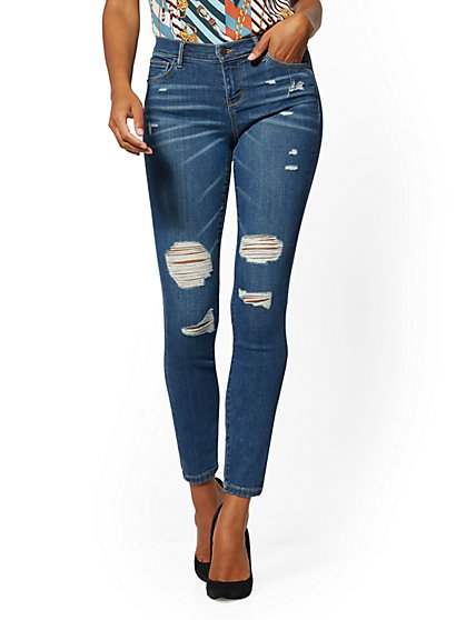 Tall Destroyed Super-Skinny Jeans - Blue Spark - New York & Company