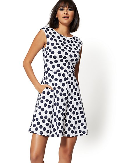 Tall Dot-Print Cotton Fit and Flare Dress - New York & Company
