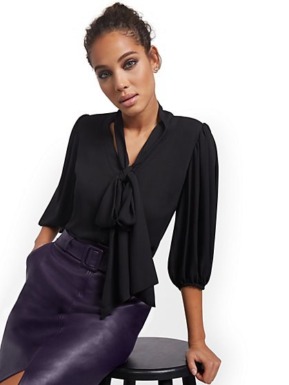 Tall Essential V-Neck Bow Blouse - New York & Company