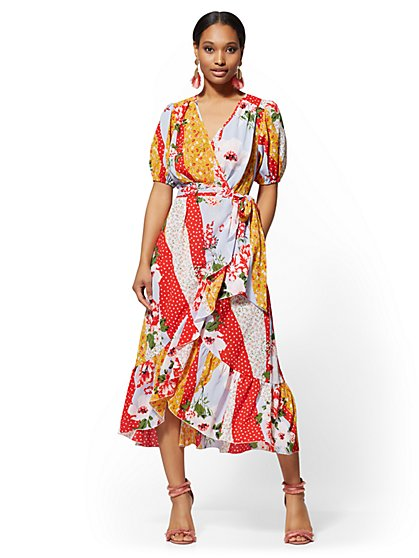 Tall Floral & Dot-Print Wrap Maxi Dress - New York & Company
