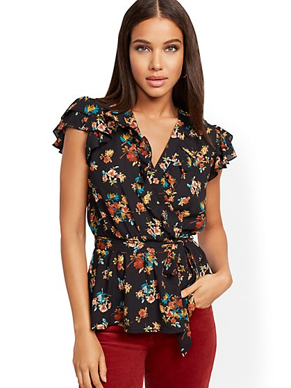 Tall Floral Flutter-Sleeve Blouse - New York & Company