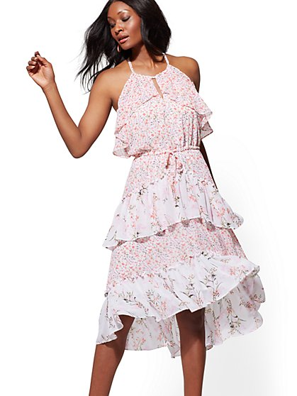 57652d2d6e3 Tall Floral Halter Tiered Hi-Lo Dress - New York   Company ...