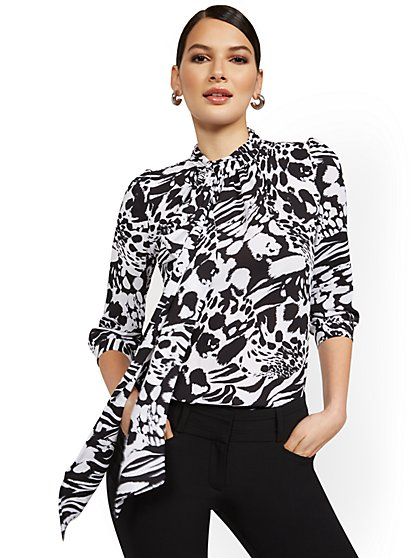 Tall Floral-Print Bow Blouse - 7th Avenue - New York & Company
