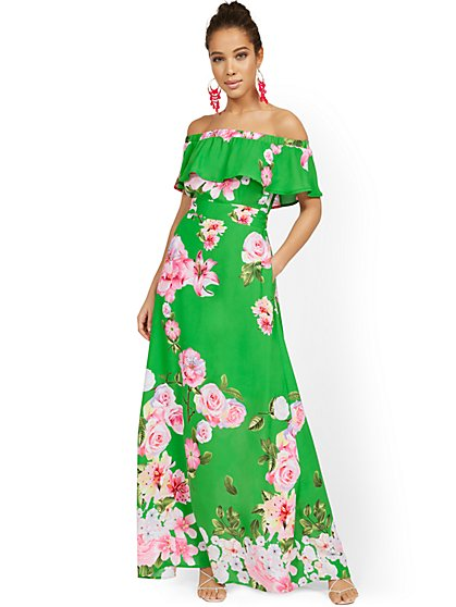 Tall Floral-Print Off-the-Shoulder Ruffle-Top Maxi Dress - New York & Company