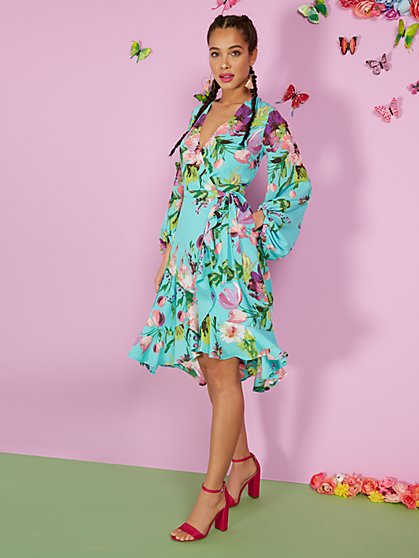 Tall Floral-Print Wrap Dress - New York & Company