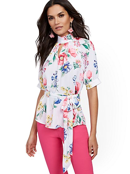 Tall Floral Puff-Sleeve Blouse - 7th Avenue - New York & Company