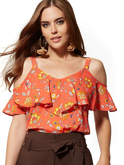 9e74273e7 Tall Floral Ruffled Cold-Shoulder Blouse - 7th Avenue - New York & Company  ...
