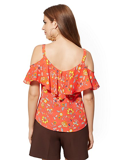 c5e8eecb664 ... Tall Floral Ruffled Cold-Shoulder Blouse - 7th Avenue - New York &  Company