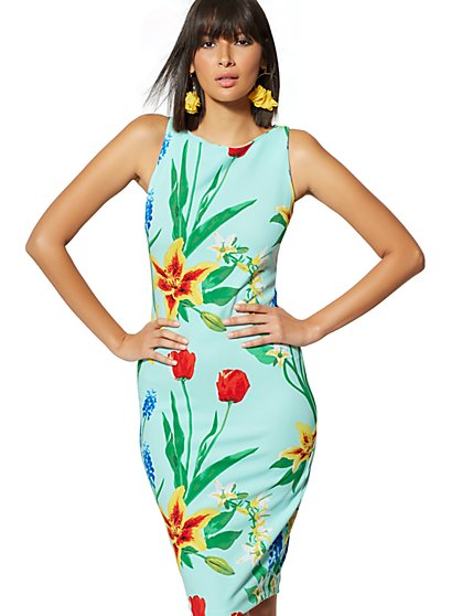 Tall Floral Scuba Dress - New York & Company