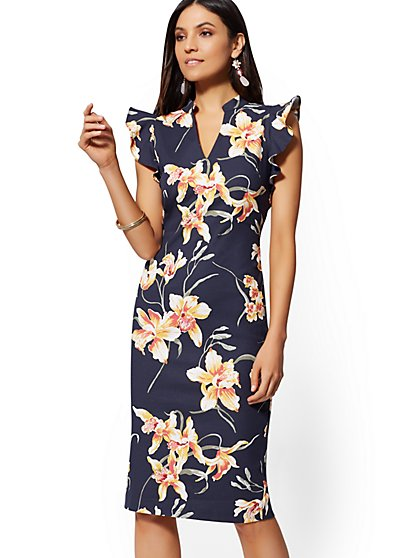 Tall Floral Sheath Dress - 7th Avenue - New York   Company defda8afd