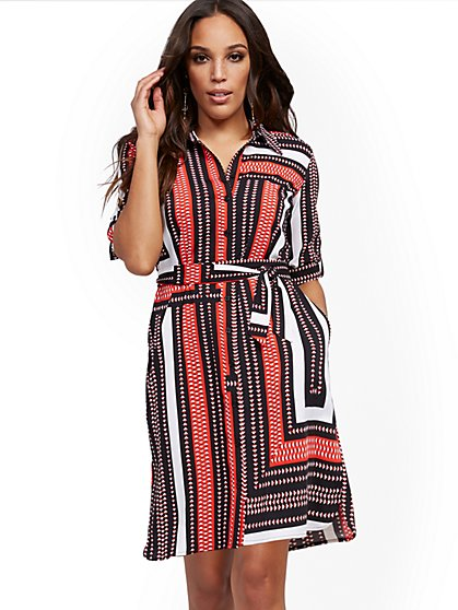 Tall Graphic-Print Shirtdress - New York & Company