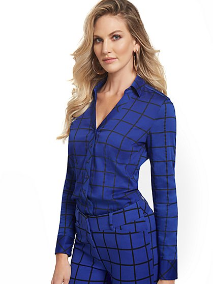 Tall Grid-Print Madison Shirt - 7th Avenue - New York & Company