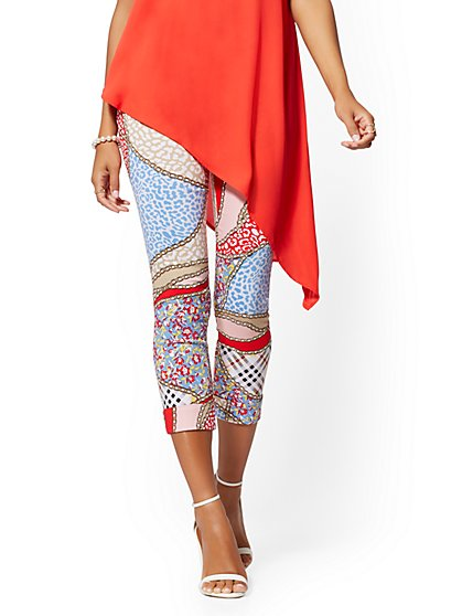 Tall High-Waist Pull-On Crop Pant - Mixed Print - New York & Company